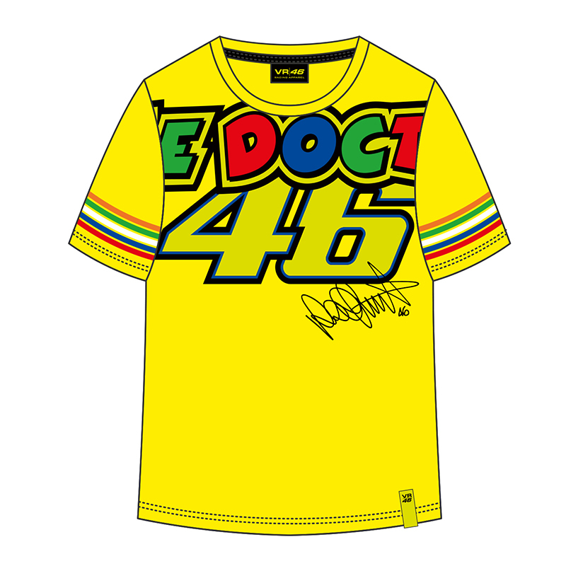 Valentino Rossi VR46 Moto GP Kids T-Shirt Large 46 Signature the doctor Yellow TShirt for Motorcycle Sports