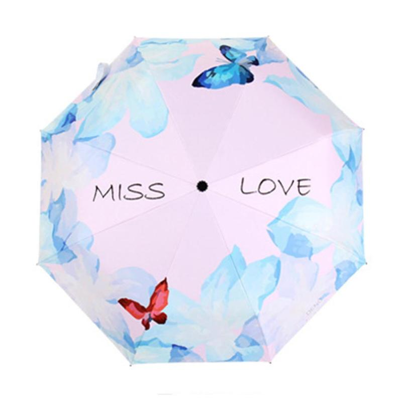 Ultra-Light Sunscreen Uv Umbrella Butterfly Element High Quality Sunny Umbrella Vinyl Three Fold Couple Umbrella A20