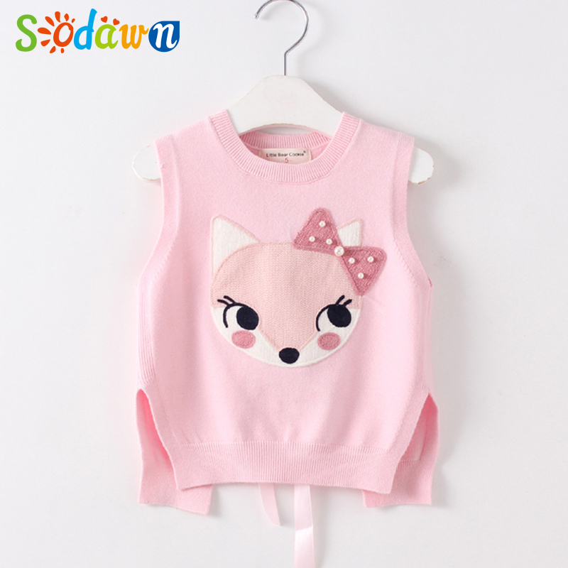 Sodawn Autumn New Girl Cartoon Pearl Knitting Vest Fashion Baby Vest Baby Girls Clothes Kids Clothing Children Clothing