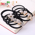 10pcs Korean Lovely Rhinestone Rubber Rope Ponytail Black Women Hair Accessories Elastic Headband Hairband