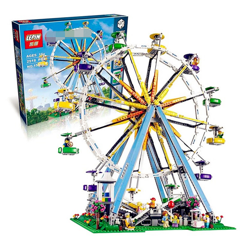 ФОТО IN STOCK  2518pcs New Lepin 15012 City Street Ferris Wheel Model Building Kits Blocks Toy Compatible with 10247 gifts