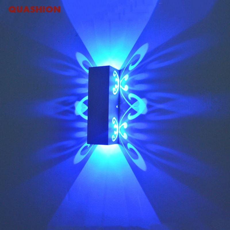 Сучасна мода Алюмінієвий світлодіодний світильник Вгору та вниз світлодіодний настінний світильник 2W батареї проекції зал коридору настінного коридору