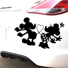 NEW Mickey Mouse Adesivos Sobre O Decalque Do Carro Estilo Do Carro Do Corpo Da Motocicleta Legal Tampas Preto/Prata(China)