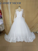 Appliques Lace Wedding Dressees Long Sleeves Ball Gown Vestido De Noiva 2018 Vintage Sheer Tulle Plus Size Bridal Gown