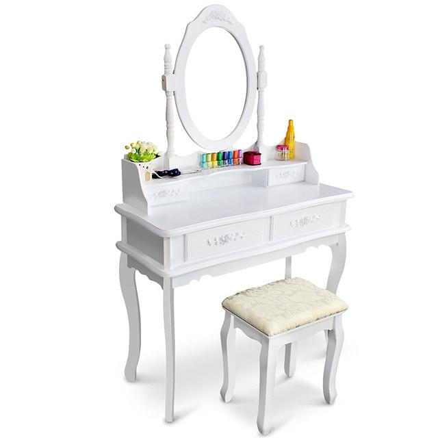 White Vanity Makeup Dressing Table Set With Stool 4 Draweru0026Mirror Jewelry  Wood Desk US