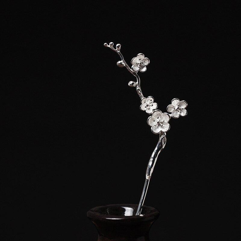 925 Sterling Silber Hairwear Pflaumenblüte Haar Klebt Vintage Ethnisch Charme Eleganz Haar Accessorie 925 Haarschmuck Für Frauen