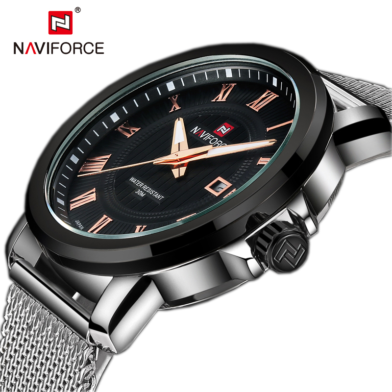 Top Brand NAVIFORCE Fashion Mens Watches Stainless Steel Strap Quartz Men Dress Wrist Watch Round Dial Male Relogio Masculino fashion noctilucent wrist watch modern desgin sport men circle round dial quartz watches stainless steel band strap males reloj