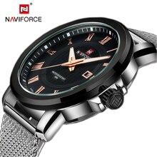 Top Brand NAVIFORCE Moda Hombres Relojes Hombre Vestido de Reloj de Cuarzo Correa de Acero Inoxidable Dial Redondo Hombres Relogio masculino