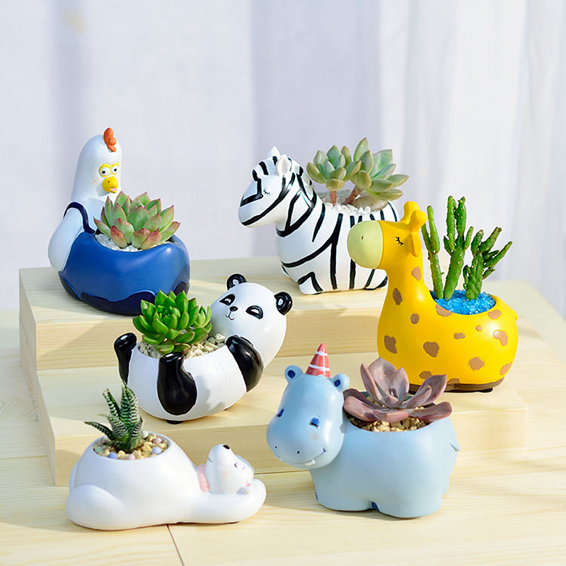 1PC Animal Resin Succulent Plant Pot Decorative Desktop Flower Pot Mini Bonsai Planter Home Garden Decor Bear Zebra Giraffe