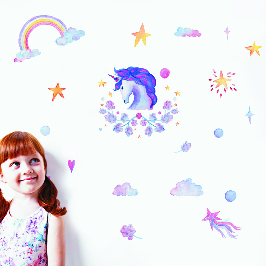 Colorful Flower Purple Unicorn Wall Sticker Rainbow Star Diy Wall Decal For Kids Room Nursery Art Mural Home Decor Birthday Gift