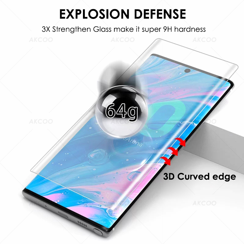 Image 4 - 10D Akcoo Note 10 UV Glass Screen Protector with FINGERPRINT UNLOCK for Samsung Galaxy Note 10  S10 Plus S8 9 5G glass film-in Phone Screen Protectors from Cellphones & Telecommunications on