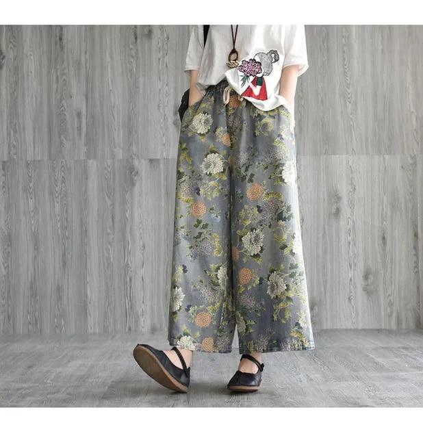 Japanese Korean Mori Women Vintage Drawstring Loose Straight Wide Leg Denim Pant Fashion Ladies Trouser Jeans Bottom Oversized