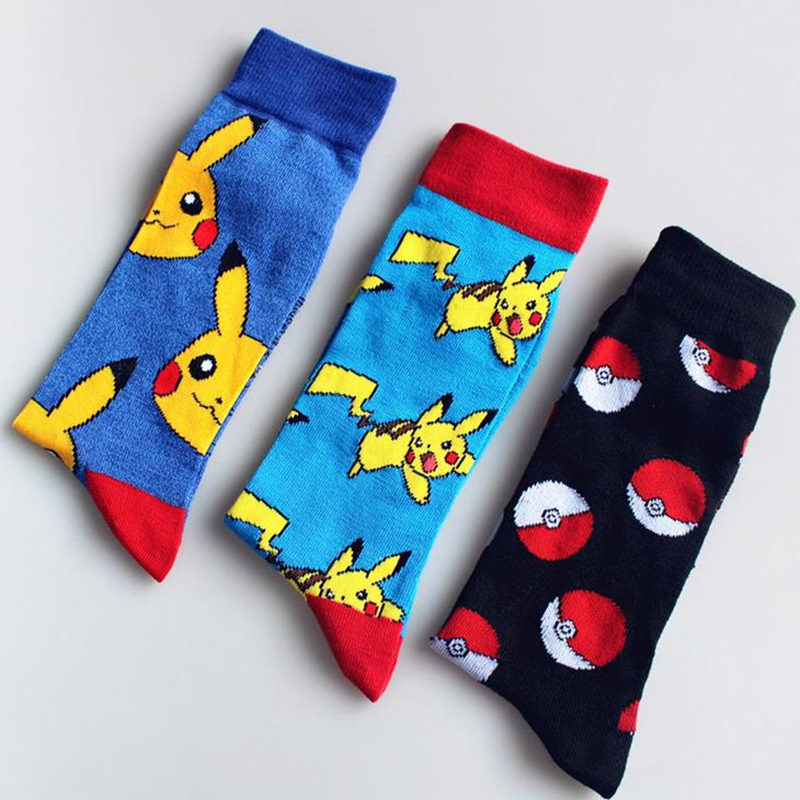 10pcs=5pairs Winter Wen socks cotton Japanese Cartoon pokemon Unisex funny Socks  Kawaii Pikachu pokemon Socks Dropshipping