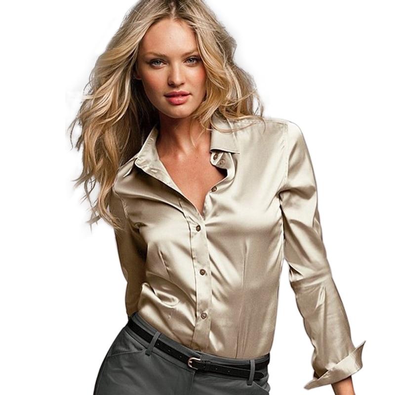 S Xxxl Women Satin Silk Blouse Button Ladies Silk Satin Blouses