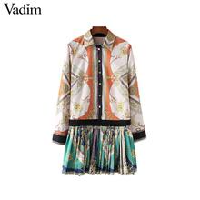 Vadim stylish chains print patchwork pleated dress long sleeve turn down collar pleated female casual dresses Vestidos QA543
