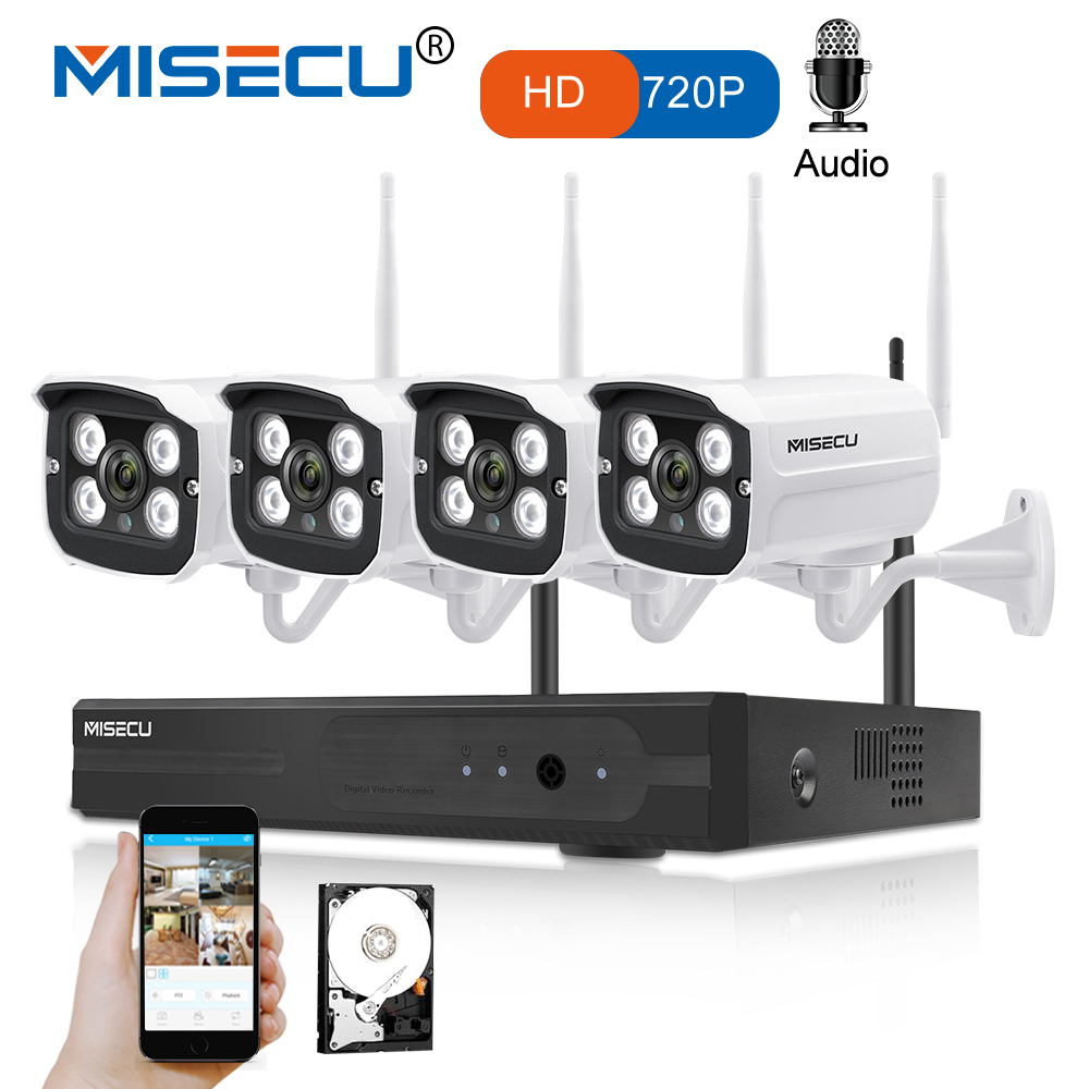 MISECU 4CH NVR Wireless CCTV System 720P HD WIFI IP Camera Audio Record Outdoor Waterproof Night Vision P2P Security Home Kit misecu easy installation plug play 2 4g wifi kit 720p 1080p vga hdmi 4ch nvr wireless p2p 720p wifi ip camera waterproof cctv