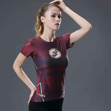Marvel Women Bodys T shirt flash Compression T Shirt Female font b Fitness b font Tights