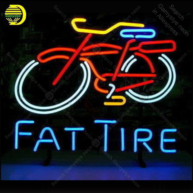 Neon Sign for Fat Tire Bike Pub game room Real Glass Tube Neon Bulb Signboard decorate Handcraft sign Light up sign lampara