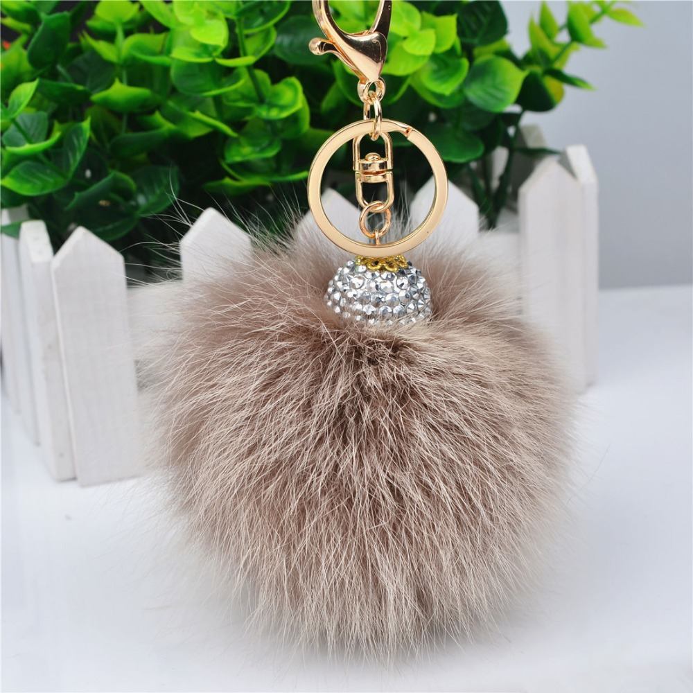 Woman/'s Bag Pompom Keyring 10cm  REAL Fur Charm Clothes Pendant Key Chain