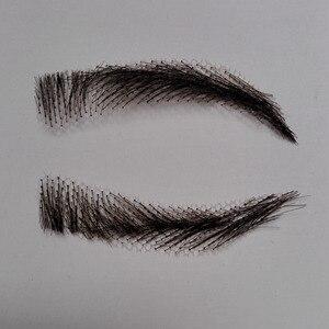 Image 5 - hand made human hair man false eyebrow black color hand knot fake eyebrow invisible swiss lace hand eyebrows