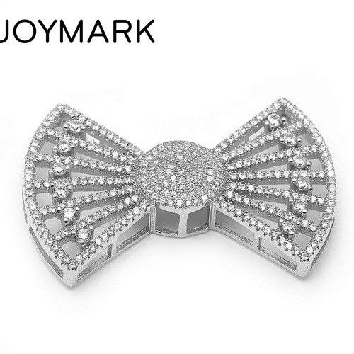 27.3x40.2mm Zircon Micro Pave Bowknot 925 connecteur en argent Sterling pour bricolage perle bijoux pendentif à breloque SLJQ-CZ026