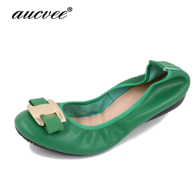 aucvee Fashion Women Flats Shoes Slip On Loafers Bow Leather Flat Ballet Shoes Soft Moccasins Metal Buckle Shallow Shoes S F5