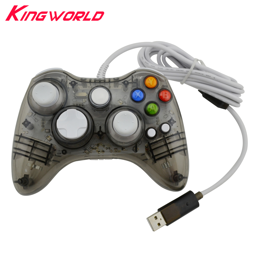 2pcs Transparent black USB Wired Game Handle LED Glow Portable Game Controller Gampad For Microsoft for Xbox 360 console