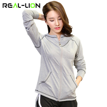 RealLion Yoga Shirt Korean Style Long Sleeve Front Zipper Hoodie With Pockets Polyester Fabric Coat Sports Sweater