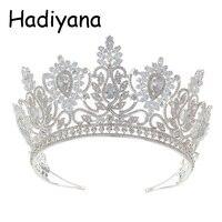 Hadiyana Fashion Floral Design Lady Big Crown Shiny Cubic Zircon Bride Wedding Queen Crown Hair Accessories HG6076
