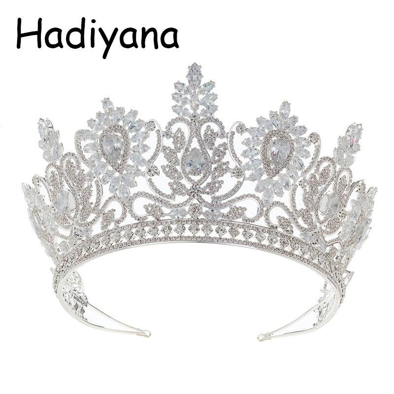 Takı ve Aksesuarları'ten Saç Takısı'de Hadiyana Moda Çiçek Tasarım Bayan Büyük Taç Parlak Kübik Zirkon Gelin Düğün Kraliçe Taç saç aksesuarları HG6076'da  Grup 1