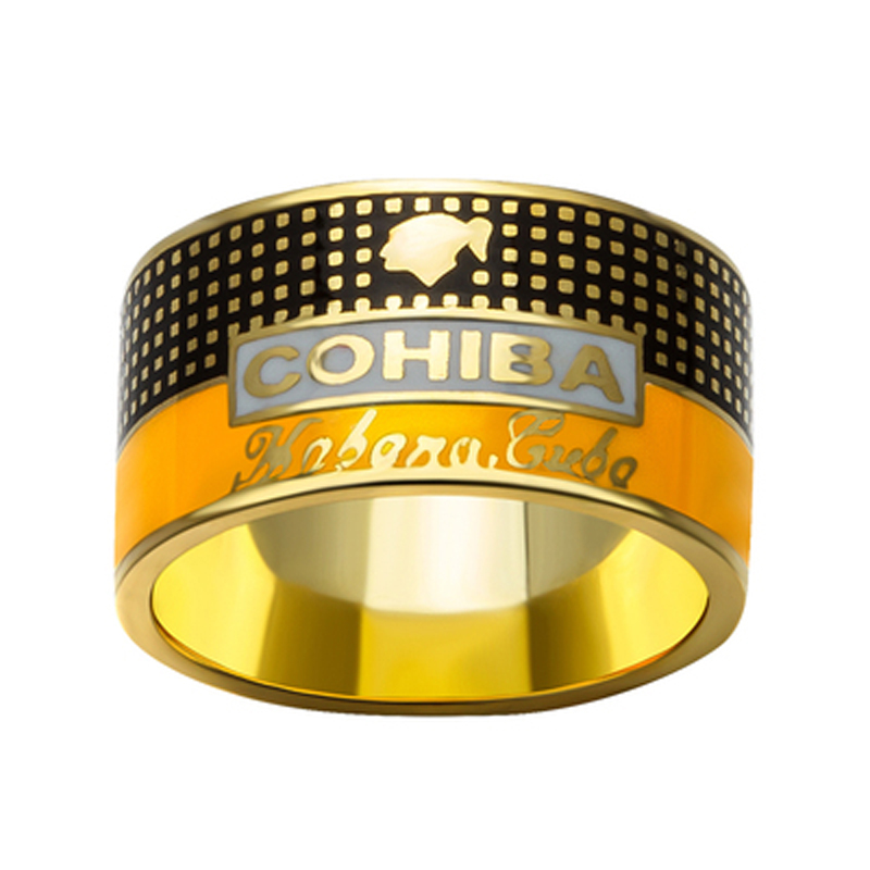 COHIBA Elegant Cigar Ring Gold plated 925 Sterling Silver Ring Creative Jewelry