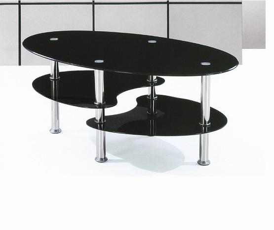 modern design oval glass coffee table chrome leg black tempered glass coffee table