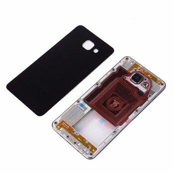 Para Samsung A7 2016 A710 A710F metal lleno medio Marcos cubierta de batería de cristal trasera versión de una sola tarjeta