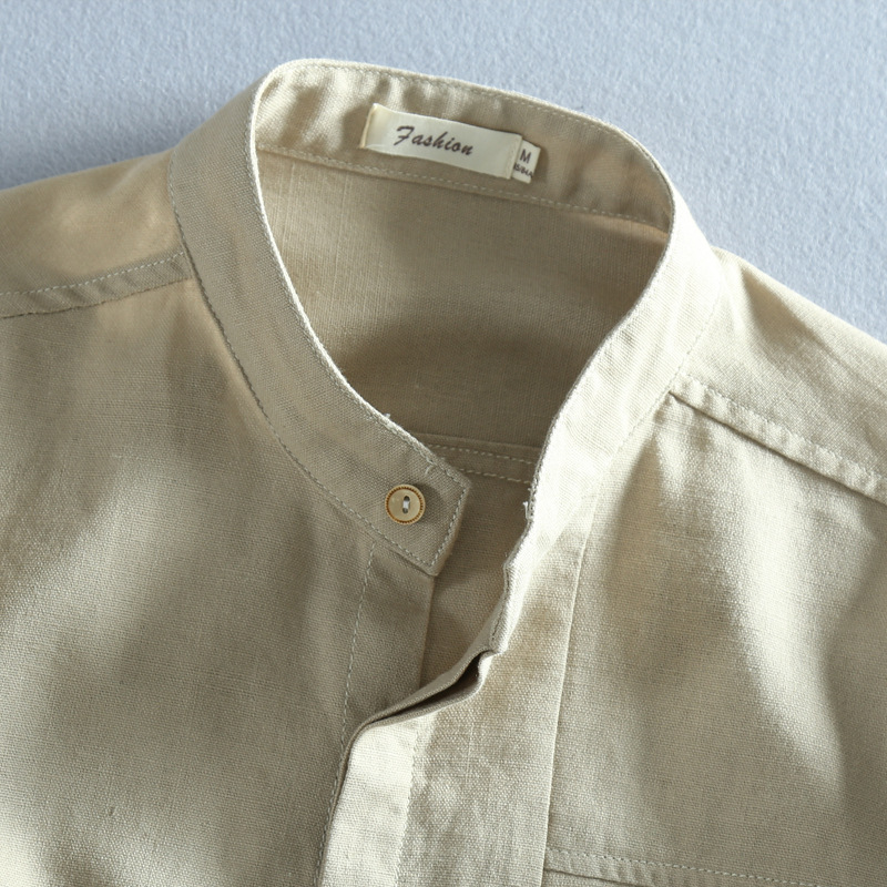 5b7c947097 Men Solid Linen Shirt Chinese Traditional Mandarin Collar Cotton Dress Shirts  Long Sleeve Linen Shirt Male Business Shirt TS 310-in Casual Shirts from  Men s ...