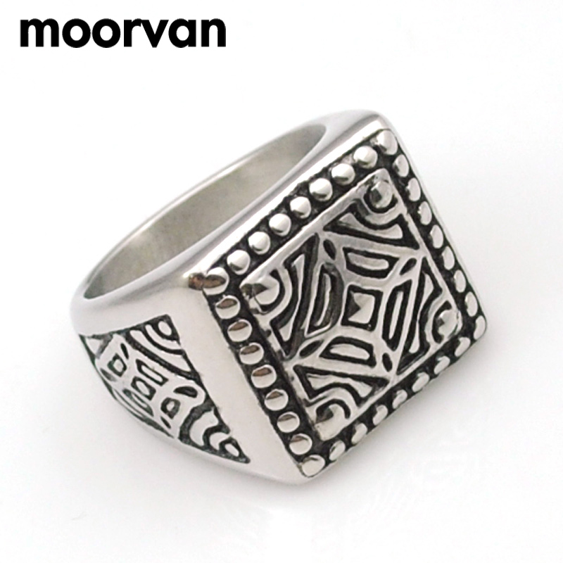 Moorvan vintage ring punk stainless steel boys jewelry trendy fashion gift carving style square rings mens VR451