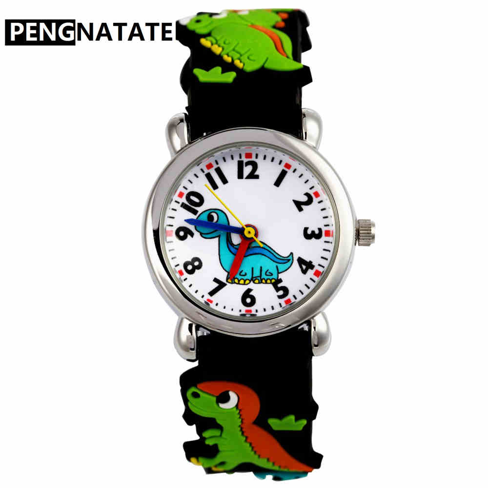 PENGNATATE Kids Watches Boy Fashion Dinosaur Cartoon Wristwatch 3D Silicone Strap Children Quartz Watch Student Girls Gift Clock