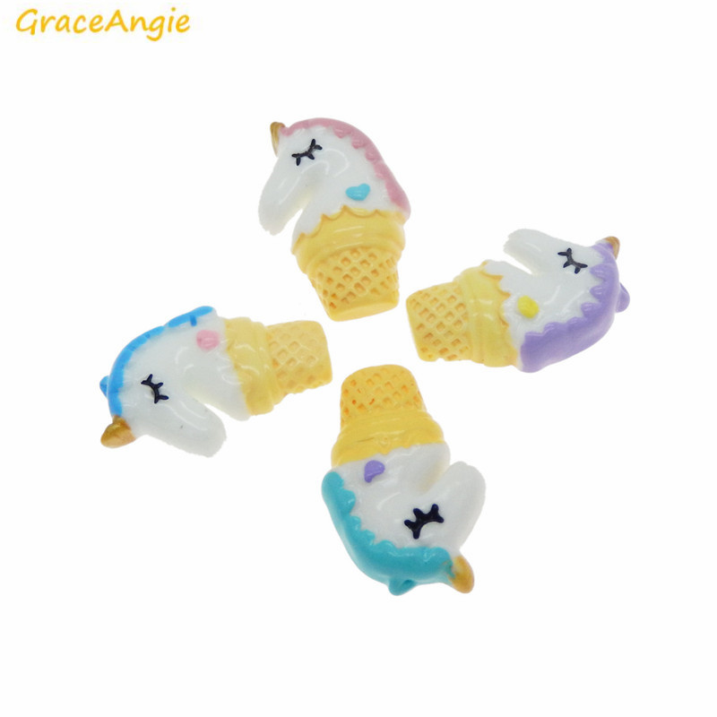 GraceAngie 5pcs Colorful Cute Unicorn with Icecream Resin Charm for Handmade Summer Women Fashion Jewelry Accessory Phone Craft