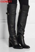 แฟชั่นฤดูหนาวที่อบอุ่นfauxขนสตรีเข่าสูงบู๊ทสีดำนุ่มหนังแฟชั่นใหม่หญิงหนาส้นรองเท้าสูงรองเท้าขนาดบวก