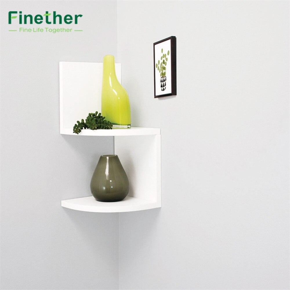 Finether 2 Tier Zig Zag Floating Wall Corner Shelf Unit