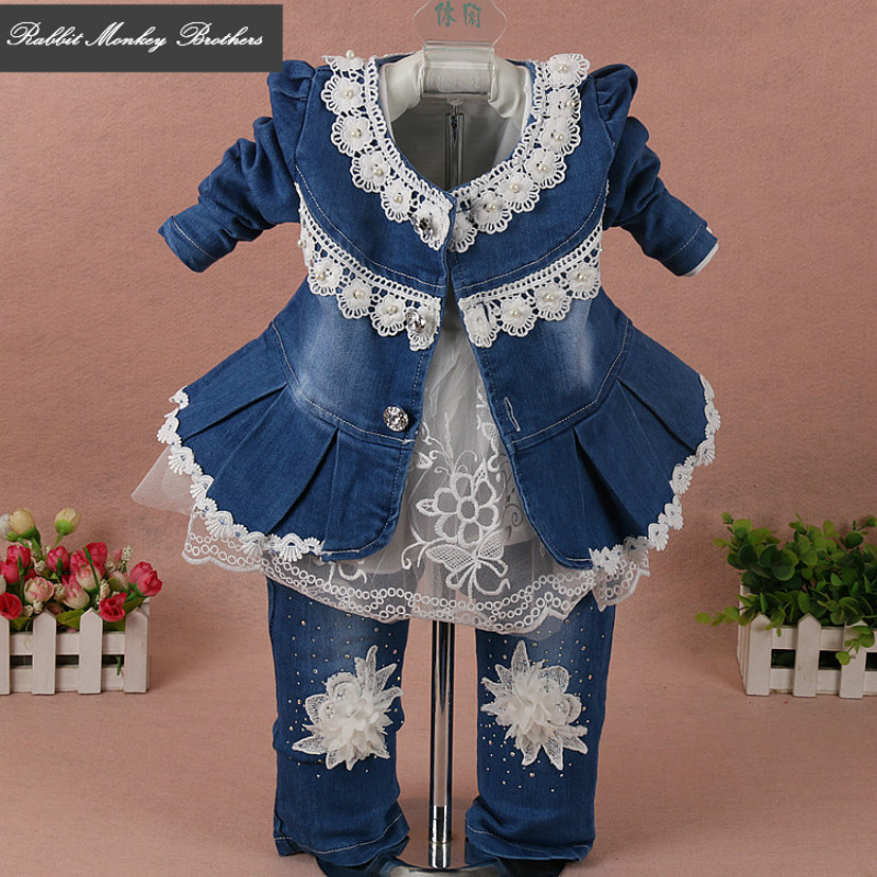 Fahion Spring and fall baby girl set 2017 Girls Denim sets 3 pieces sets lace long sleeved cotton suit for infant baby girl