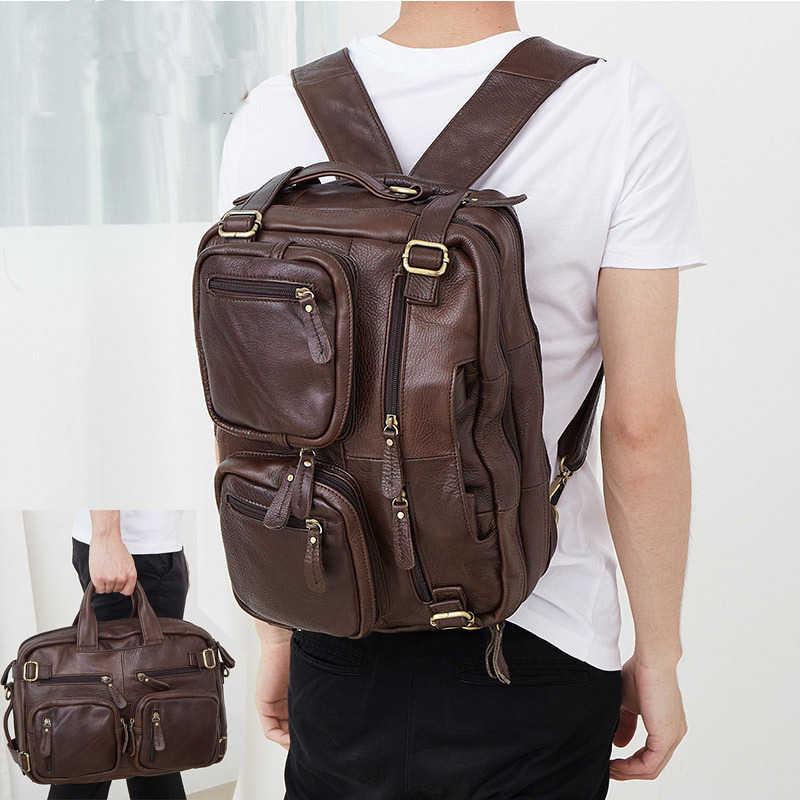 b536b6dc18d4 Burminsa бренд утилита 100% пояса из натуральной кожи Портфели Бизнес  Путешествия Back Pack 14 дюймов