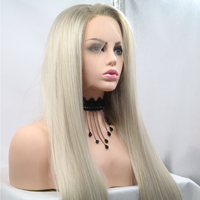 Fantasy Beauty Women's Glueless Blonde Ombre Lace Front Wigs Synthetic,Realistic Looking Side Part Long Straight Dark Roots