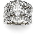 Victoria Wieck Deluxe Lovers Diamonique Cz 14KT White Gold Filled 3 Wedding Ring Set Sz 5-11 Free shipping Gift