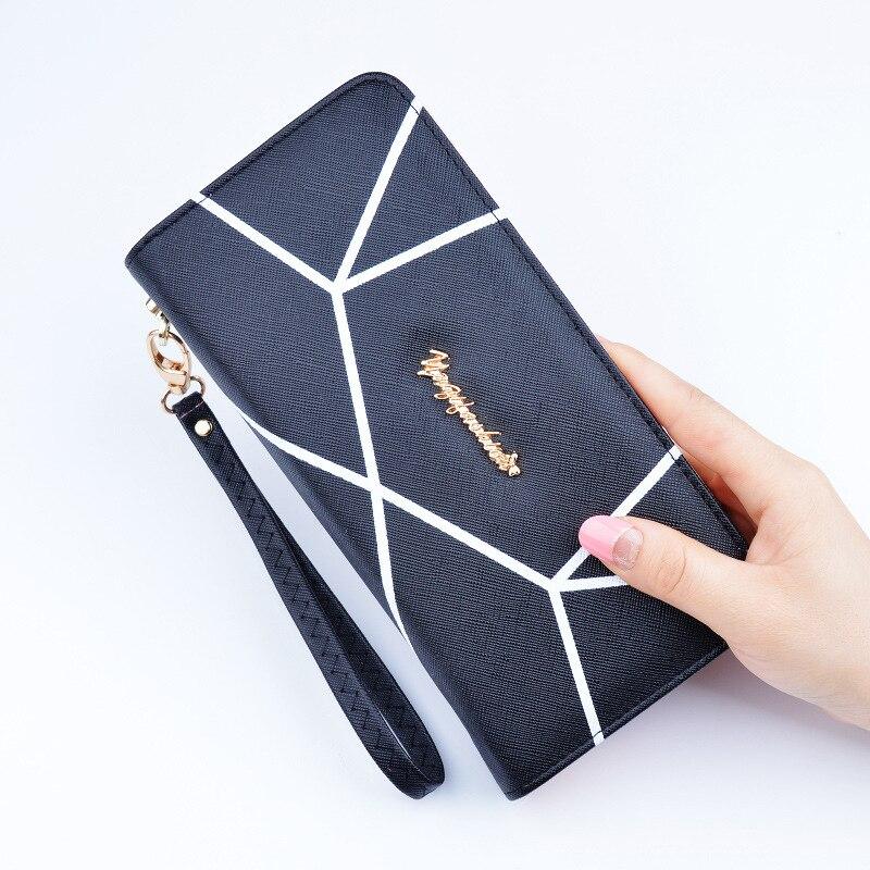 Wallet Female Women Leather Purses Long Wristlet Wallet Female Zipper Clamp For Money Fashion Pattern Women Purse Handy Clutch