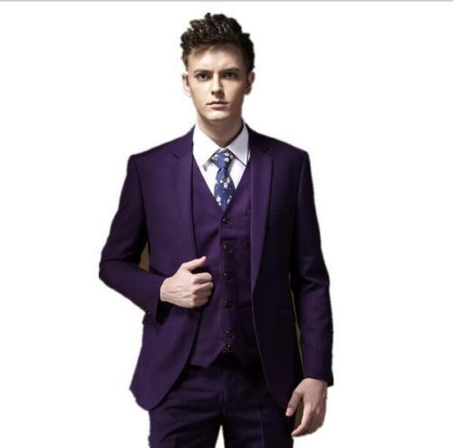 e00bc57c71040 4 adet (Ceket + Pantolon + Yelek + Kravat) mor Erkekler Takım Elbise Notch  yaka Kostüm Homme Evlilik Marka Giyim Moda Terno Masculino Skining