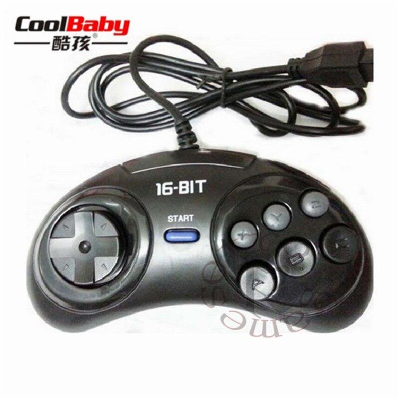 2pcs 16 bit Classic Wired Game Controller for SEGA Genesis 6 Button Gamepad for SEGA Mega Drive Game Accessories