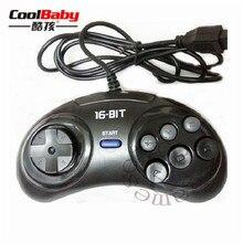 2 pcs 16 bits Wired Clássico Controlador Do Jogo para SEGA Genesis 6 Botão Gamepad para SEGA Mega Drive Acessórios Do Jogo