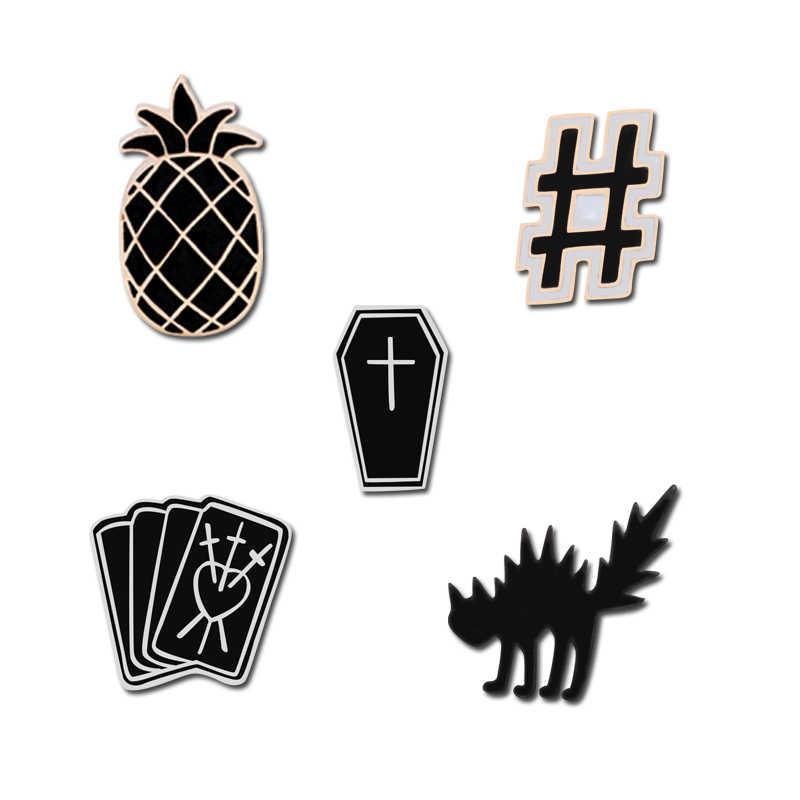Pesona Perhiasan Gelap Pin Goreng Kucing Nanas Pound Key Kartu Sihir Penyihir Peti Mati Hitam Enamel Pin Gesper Lencana Tas Topi pin Bros