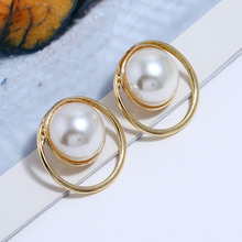 L&H Summer Exquisite Dangle Earrings For Women Trendy Alloy Hollow Round Drop Vintage Elegant Party Pearl 2019