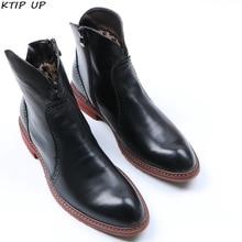 Boots Work-Shoes Mens Footwear Black Winter Warm for Modis Plush-Fur Brand